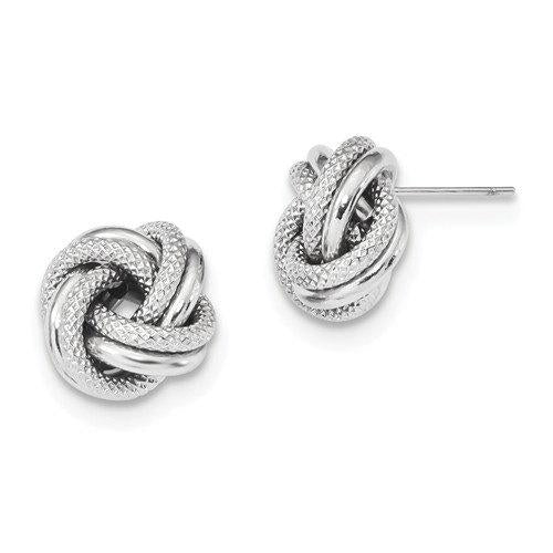 14K White Gold 12mm Classic Love Knot Earrings Post Stud Earrings