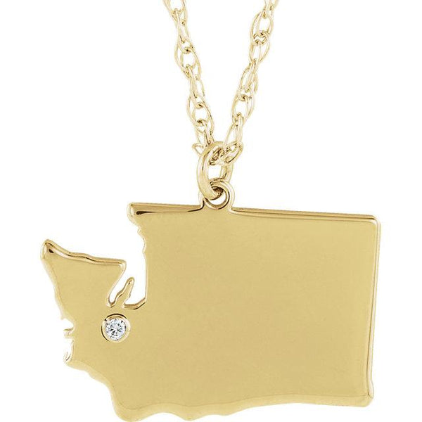 14k 10k Yellow Rose White Gold Diamond Silver Washington WA State Map Personalized City Necklace
