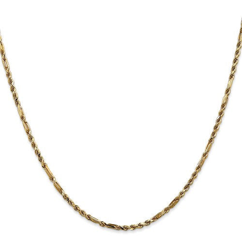 14K Yellow Gold 2.25mm Diamond Cut Milano Rope Bracelet Anklet Necklace Pendant Chain