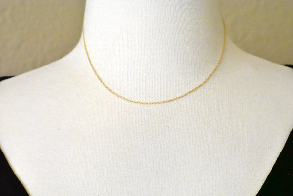 14k Yellow Gold 0.95mm Cable Rope Necklace Choker Pendant Chain