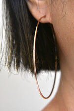 Load image into Gallery viewer, 14k Rose Gold Classic Endless Round Hoop Earrings 60mm x 1.25mm