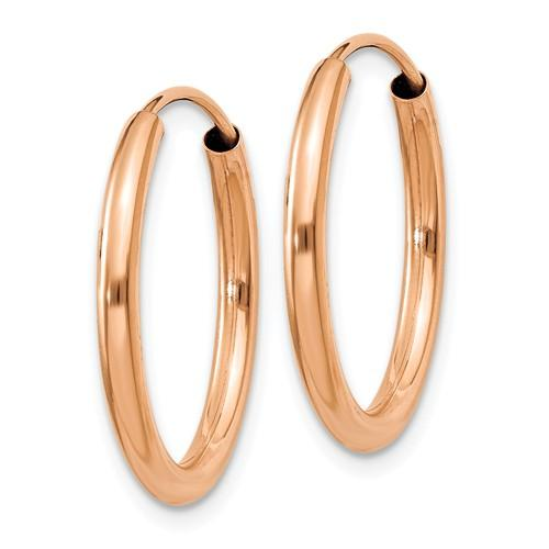 14k Rose Gold Classic Endless Round Hoop Earrings 19mm x 2mm
