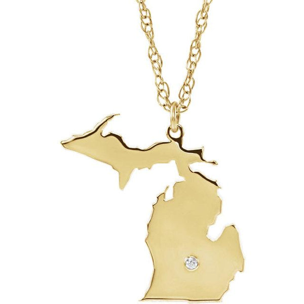 14k 10k Yellow Rose White Gold Diamond Silver Michigan MI State Map Personalized City Necklace