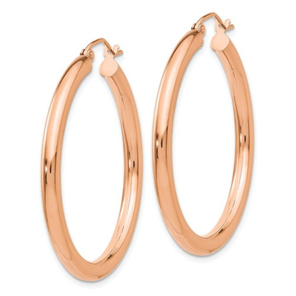 14K Rose Gold Classic Round Hoop Earrings 34mm x 3mm