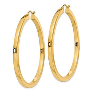 14K Yellow Gold Square Tube Round Hoop Earrings 50mm x 3mm
