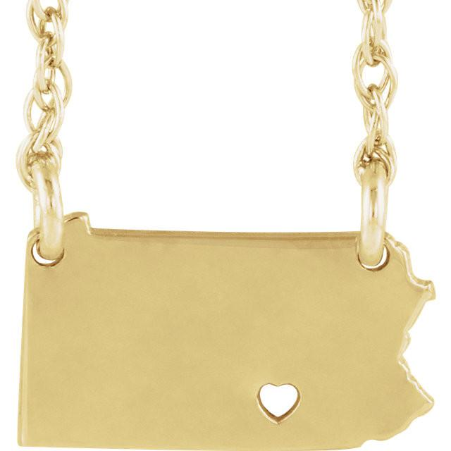 14k Gold 10k Gold Silver Pennsylvania PA State Map Necklace Heart Personalized City