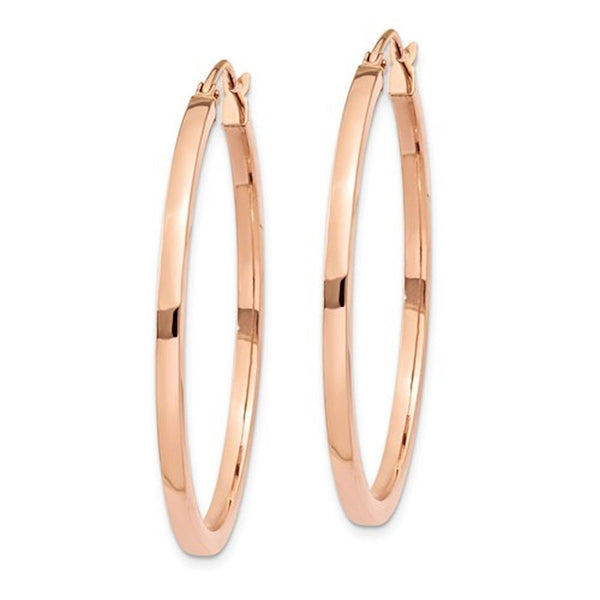 14K Rose Gold Classic Square Tube Round Hoop Earrings 35mm x 2mm