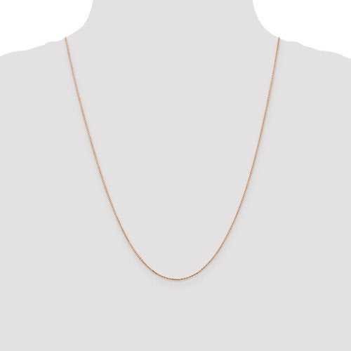 14k Rose Gold 0.80mm Diamond Cut Choker Necklace Pendant Chain