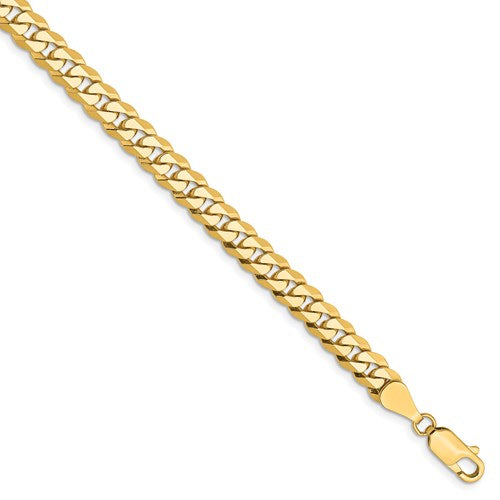 14k Yellow Gold 5.75mm Beveled Curb Link Bracelet Anklet Choker Necklace Pendant Chain