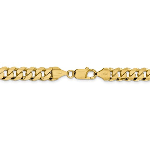 14k Yellow Gold 8.5mm Beveled Curb Link Bracelet Anklet Choker Necklace Pendant Chain
