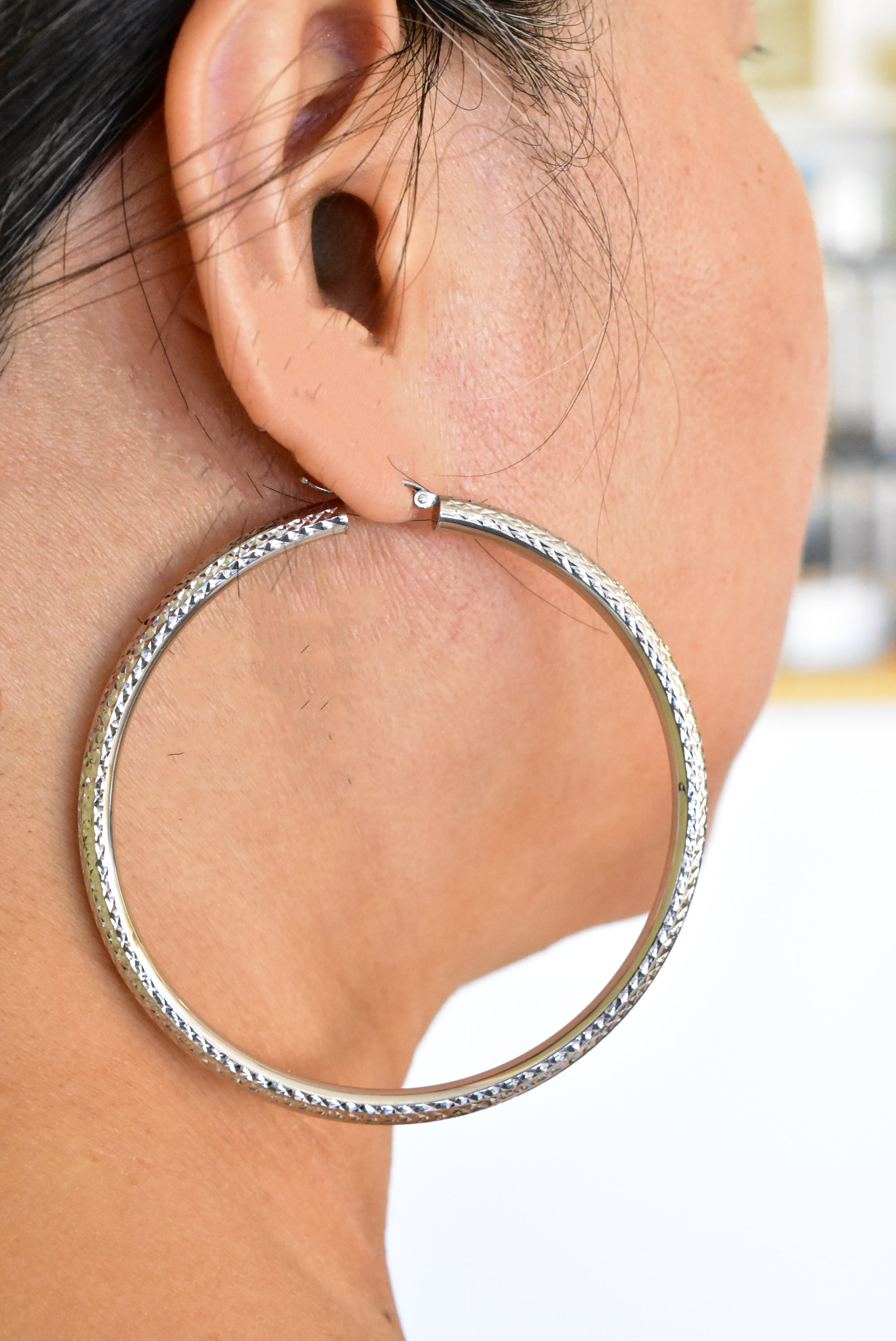 14K White Gold Large Sparkle Diamond Cut Classic Round Hoop Earrings 65mm x 4mm
