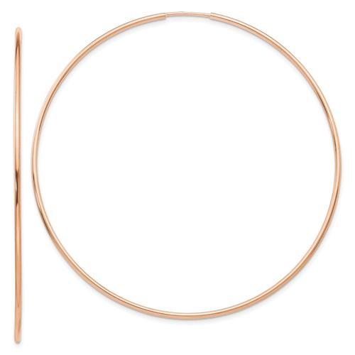 14k Rose Gold Classic Endless Round Hoop Earrings 60mm x 1.25mm