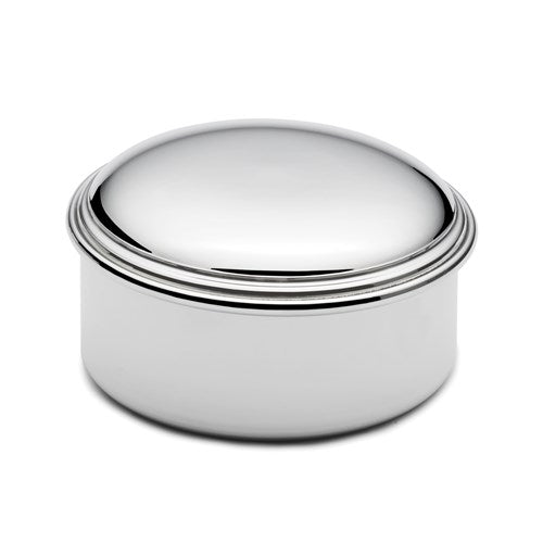 Genuine Pewter Polished Round Jewelry Box Engraved Personalized Monogram