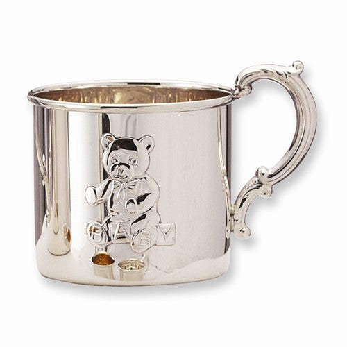 Sterling Silver Baby or Child Cup Teddy Bear Engraved Personalized Monogram