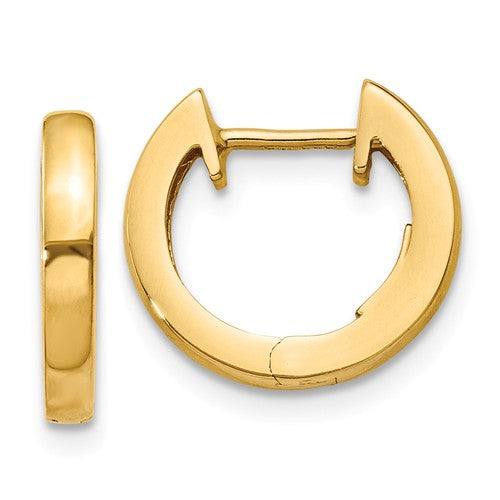 14k Yellow Gold Classic Huggie Hinged Hoop Earrings 12mm x 12mm x 2mm