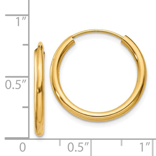 14k Yellow Gold Round Endless Hoop Earrings 20mm x 2mm