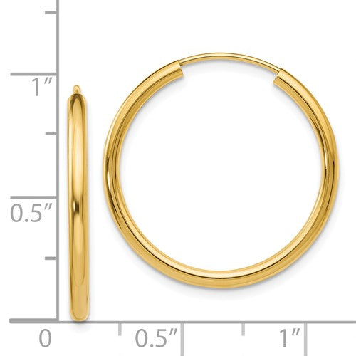 14k Yellow Gold Round Endless Hoop Earrings 25mm x 2mm