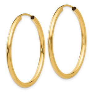 14k Yellow Gold Round Endless Hoop Earrings 29mm x 2mm