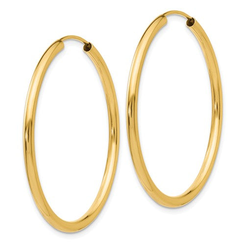 14k Yellow Gold Round Endless Hoop Earrings 35mm x 2mm