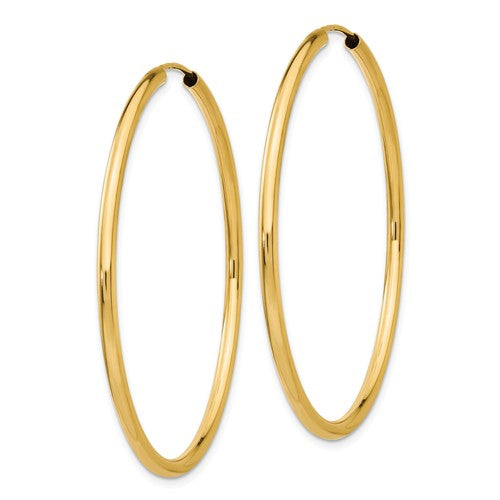 14k Yellow Gold Round Endless Hoop Earrings 44mm x 2mm
