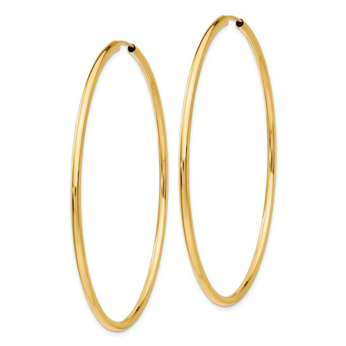 14k Yellow Gold Round Endless Hoop Earrings 59mm x 2mm