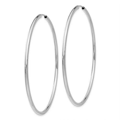 14k White Gold Round Endless Hoop Earrings 58mm x 2mm