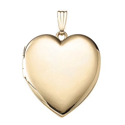 14k Yellow Gold 23mm Heart Locket Pendant Charm Engraved Personalized Monogram - BringJoyCollection