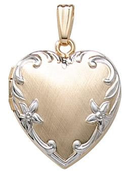 14k Yellow Gold Two Tone 19mm Heart Locket Pendant Charm Engraved Personalized Monogram - BringJoyCollection