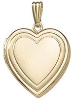 Load image into Gallery viewer, 14k Yellow Gold 19mm Heart Embossed Locket Pendant Charm Engraved Personalized Monogram - BringJoyCollection