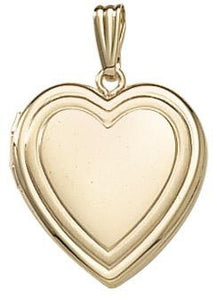 14k Yellow Gold 19mm Heart Embossed Locket Pendant Charm Engraved Personalized Monogram - BringJoyCollection