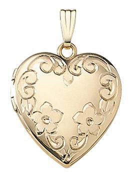 14k Yellow Gold 19mm Floral Heart Locket Pendant Charm Engraved Personalized Monogram - BringJoyCollection