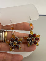 Load image into Gallery viewer, Sterling Silver Amber Flower Dangle Earrings