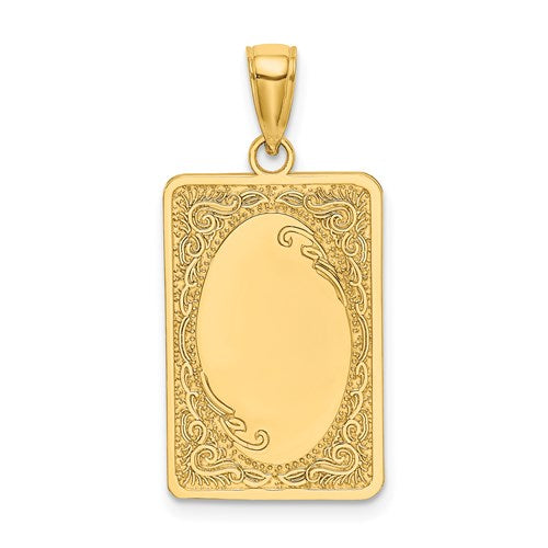 14k Yellow Gold Rectangular Rectangle Scroll Pendant Charm Engraved Personalized Monogram