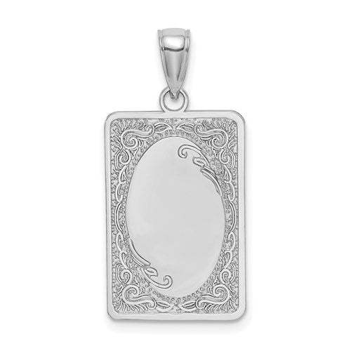 14k White Gold Rectangular Rectangle Scroll Pendant Charm Engraved Personalized Monogram