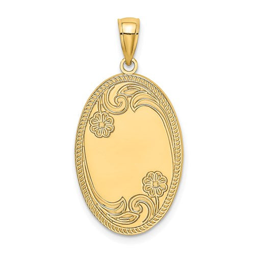 14k Yellow Gold Oval Floral Pendant Charm Engraved Personalized Monogram