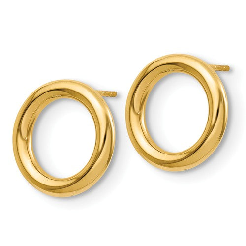 14k Yellow Gold Geo Geometric 14mm Circle Post Earrings OV0732 - BringJoyCollection