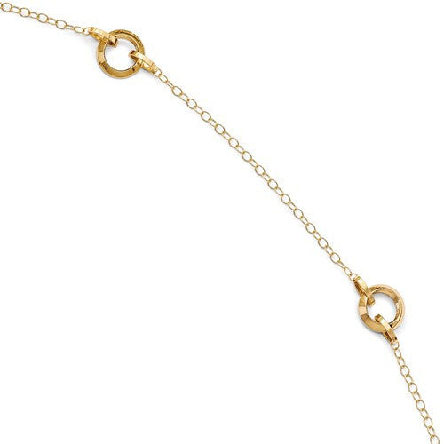 14k Yellow Gold Circles Anklet 10 inches Adjustable - BringJoyCollection