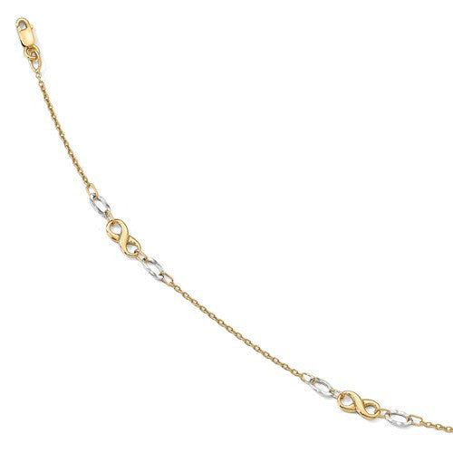 14k Yellow White Gold Two Tone Infinity Anklet 10 inches - BringJoyCollection