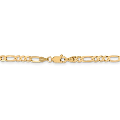 14K Yellow Gold 4mm Concave Open Figaro Bracelet Anklet Choker Necklace Chain