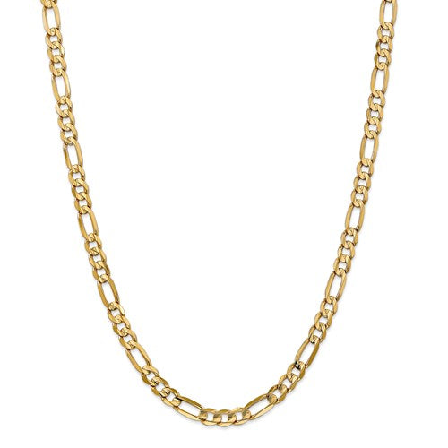 14K Yellow Gold 6mm Concave Open Figaro Bracelet Anklet Choker Necklace Chain