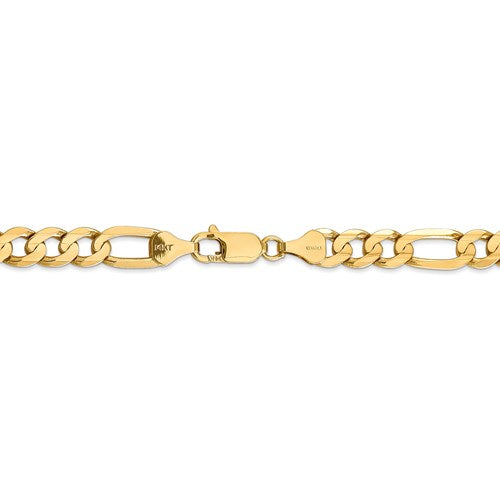 14K Yellow Gold 6.75mm Concave Open Figaro Bracelet Anklet Choker Necklace Chain