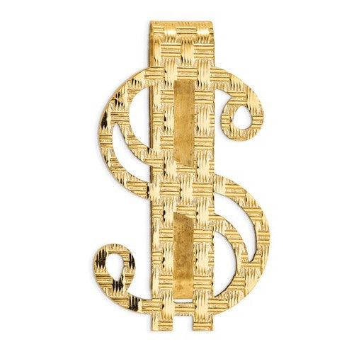 14k Solid Yellow Gold Money Clip Dollar Sign Symbol