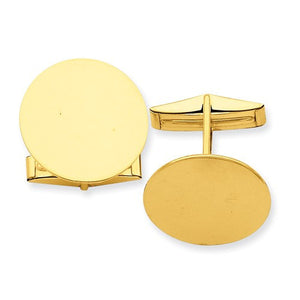 14k Yellow Gold Round Cufflinks Cuff Links Engraved Personalized Monogram - BringJoyCollection
