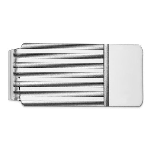 14k Solid White Gold Money Clip Personalized Engraved Monogram
