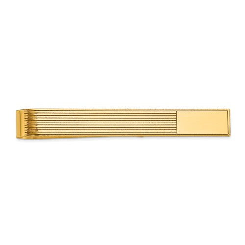 14k Yellow Gold Engravable Tie Bar Clip Personalized Engraved Monogram