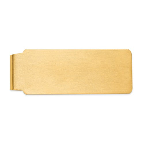 14k Solid Yellow Gold Satin Finish Money Clip Personalized Engraved Monogram