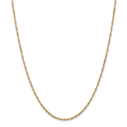 14k Yellow Gold 1.70mm Singapore Twisted Bracelet Anklet Necklace Choker Pendant Chain
