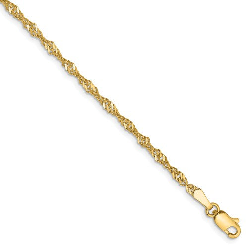 14k Yellow Gold 2mm Singapore Twisted Bracelet Anklet Necklace Choker Pendant Chain