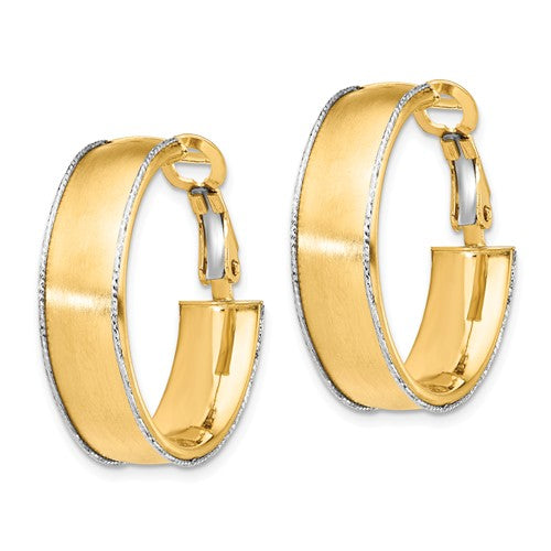 14k Yellow White Gold Two Tone Omega Back Hoop Earrings 25mm x 7.5mm