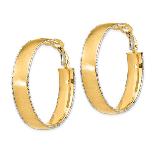 14k Yellow White Gold Two Tone Omega Back Hoop Earrings 35mm x 7.5mm
